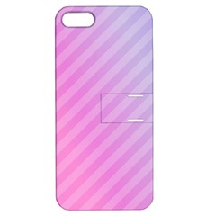 Diagonal Pink Stripe Gradient Apple Iphone 5 Hardshell Case With Stand