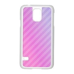 Diagonal Pink Stripe Gradient Samsung Galaxy S5 Case (white) by Nexatart