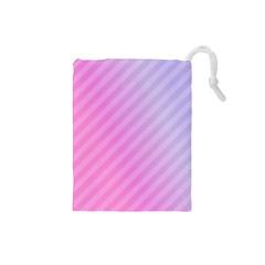 Diagonal Pink Stripe Gradient Drawstring Pouches (small)  by Nexatart