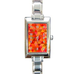 Red Hot Triangle Tile Mosaic Rectangle Italian Charm Watch