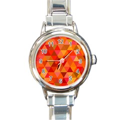 Red Hot Triangle Tile Mosaic Round Italian Charm Watch by Nexatart