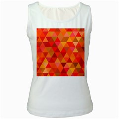 Red Hot Triangle Tile Mosaic Women s White Tank Top