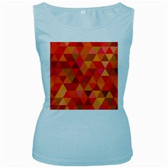 Red Hot Triangle Tile Mosaic Women s Baby Blue Tank Top