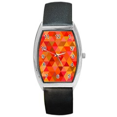 Red Hot Triangle Tile Mosaic Barrel Style Metal Watch