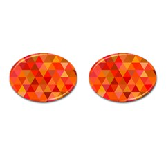 Red Hot Triangle Tile Mosaic Cufflinks (oval) by Nexatart