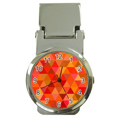 Red Hot Triangle Tile Mosaic Money Clip Watches by Nexatart