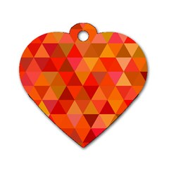Red Hot Triangle Tile Mosaic Dog Tag Heart (one Side)