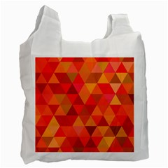 Red Hot Triangle Tile Mosaic Recycle Bag (one Side) by Nexatart