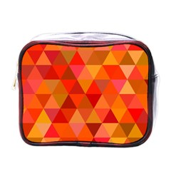 Red Hot Triangle Tile Mosaic Mini Toiletries Bags