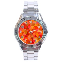 Red Hot Triangle Tile Mosaic Stainless Steel Analogue Watch by Nexatart