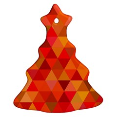 Red Hot Triangle Tile Mosaic Christmas Tree Ornament (two Sides)