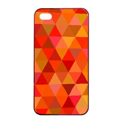 Red Hot Triangle Tile Mosaic Apple Iphone 4/4s Seamless Case (black)