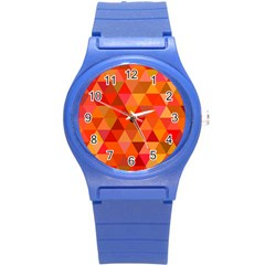 Red Hot Triangle Tile Mosaic Round Plastic Sport Watch (s) by Nexatart