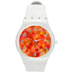 Red Hot Triangle Tile Mosaic Round Plastic Sport Watch (m)
