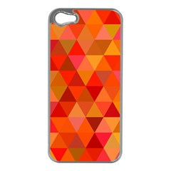 Red Hot Triangle Tile Mosaic Apple Iphone 5 Case (silver) by Nexatart