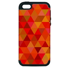 Red Hot Triangle Tile Mosaic Apple Iphone 5 Hardshell Case (pc+silicone) by Nexatart