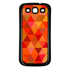 Red Hot Triangle Tile Mosaic Samsung Galaxy S3 Back Case (black)