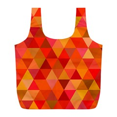 Red Hot Triangle Tile Mosaic Full Print Recycle Bags (l)  by Nexatart