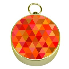 Red Hot Triangle Tile Mosaic Gold Compasses by Nexatart