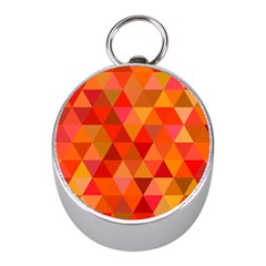 Red Hot Triangle Tile Mosaic Mini Silver Compasses