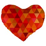 Red Hot Triangle Tile Mosaic Large 19  Premium Flano Heart Shape Cushions Front