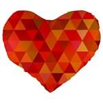 Red Hot Triangle Tile Mosaic Large 19  Premium Flano Heart Shape Cushions Back