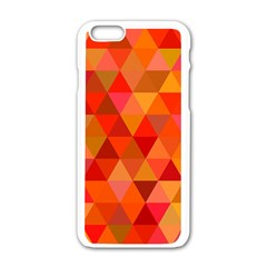 Red Hot Triangle Tile Mosaic Apple Iphone 6/6s White Enamel Case