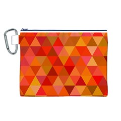 Red Hot Triangle Tile Mosaic Canvas Cosmetic Bag (l) by Nexatart