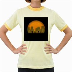 City Buildings Couple Man Women Women s Fitted Ringer T Shirts