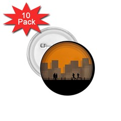 City Buildings Couple Man Women 1 75  Buttons (10 Pack)