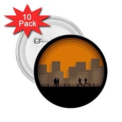 City Buildings Couple Man Women 2 25  Buttons (10 Pack)  by Nexatart