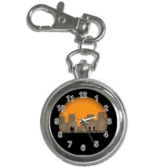 City Buildings Couple Man Women Key Chain Watches