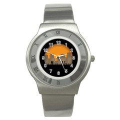 City Buildings Couple Man Women Stainless Steel Watch by Nexatart