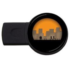 City Buildings Couple Man Women Usb Flash Drive Round (4 Gb) by Nexatart