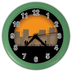 City Buildings Couple Man Women Color Wall Clocks