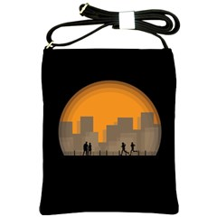 City Buildings Couple Man Women Shoulder Sling Bags