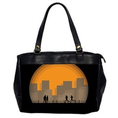 City Buildings Couple Man Women Office Handbags (2 Sides)  by Nexatart