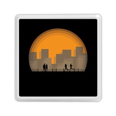 City Buildings Couple Man Women Memory Card Reader (square)  by Nexatart