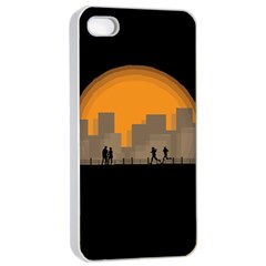 City Buildings Couple Man Women Apple Iphone 4/4s Seamless Case (white)