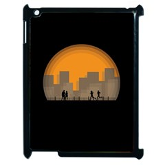 City Buildings Couple Man Women Apple Ipad 2 Case (black)