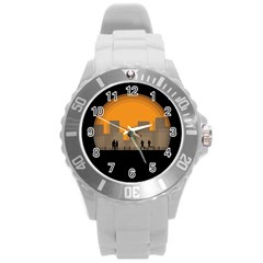 City Buildings Couple Man Women Round Plastic Sport Watch (l)