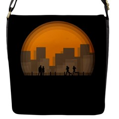City Buildings Couple Man Women Flap Messenger Bag (s)