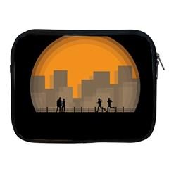City Buildings Couple Man Women Apple Ipad 2/3/4 Zipper Cases