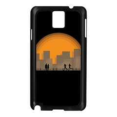 City Buildings Couple Man Women Samsung Galaxy Note 3 N9005 Case (black)