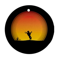 Horse Cowboy Sunset Western Riding Ornament (round)