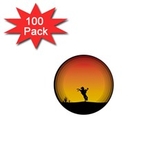 Horse Cowboy Sunset Western Riding 1  Mini Buttons (100 Pack)