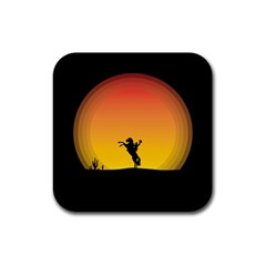 Horse Cowboy Sunset Western Riding Rubber Coaster (square)