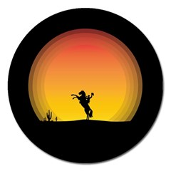 Horse Cowboy Sunset Western Riding Magnet 5  (round) by Nexatart