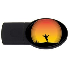 Horse Cowboy Sunset Western Riding Usb Flash Drive Oval (4 Gb)