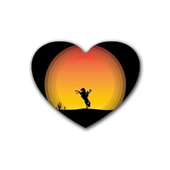 Horse Cowboy Sunset Western Riding Rubber Coaster (heart)